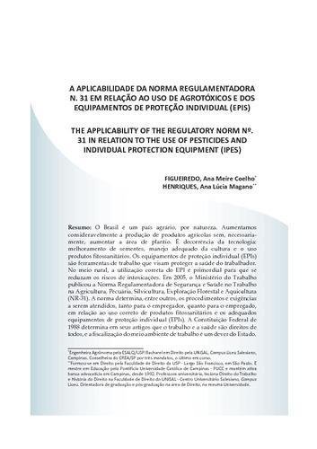 A aplicabilidade da norma regulamentadora n. 31 em relação ao uso de  agrotóxicos e dos equipamentos de proteção individual (EPIS) 692cb7b97f