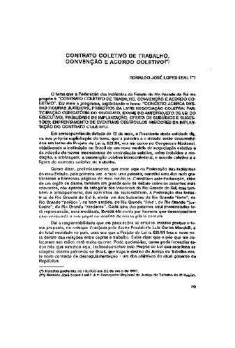 Contrato Coletivo De Trabalho Convenção E Acordo Coletivo