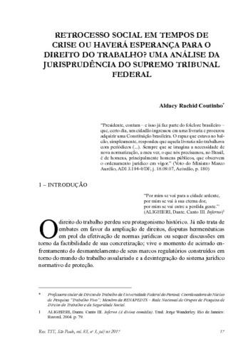 RETROCESSO SOCIAL EM TEMPOS DE CRISE OU HAVERÁ ESPERANÇA