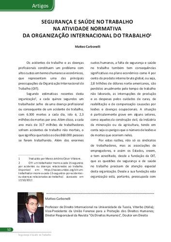 7aca50a3fa758 Artigos Artigos SEGURANÇA E SAÚDE NO TRABALHO NA ATIVIDADE NORMATIVA DA  ORGANIZAÇÃO INTERNACIONAL DO TRABALHO1